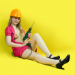Stock Photo: Sexy girl with drill