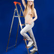 Topless girl in hard hat — Stock Photo