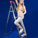 Topless girl in hard hat — Stock Photo