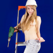 Stock Photo: Topless girl with drill