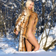 Naked beauty in the winter forest — Stock Photo