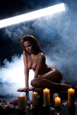 Nude With Candles — Stock Photo