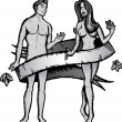 Adam and eve tattoo style vector illustr - Vettoriali Stock