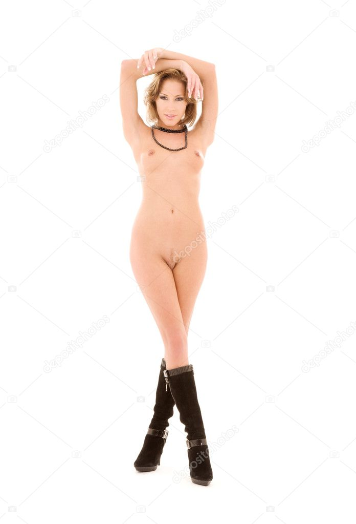 Beautiful naked woman in black boots over white — Stock Photo #3254695