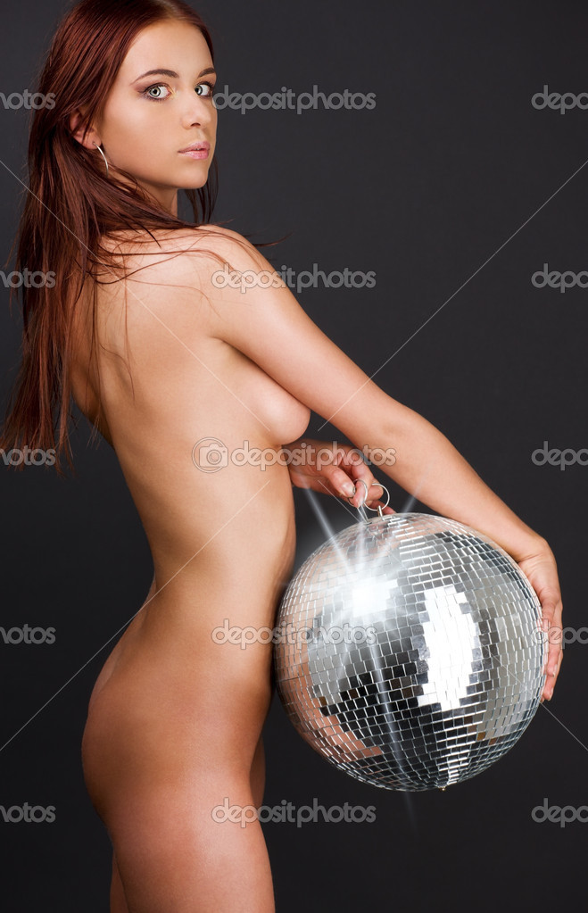 Picture of beautiful naked woman with disco ball — Stock Photo #3255709