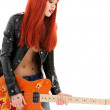Guitar babe - Stock Photo